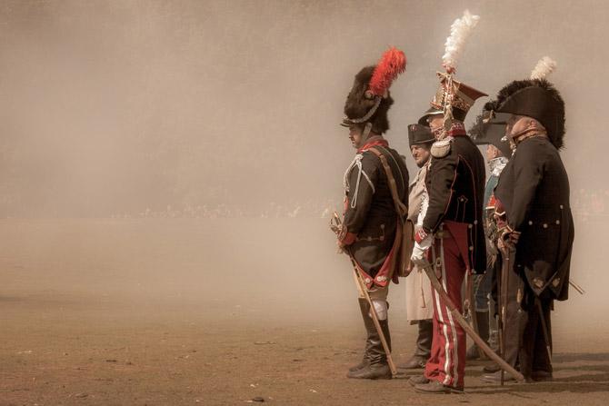 Reenactment of historical leaders on battlefield